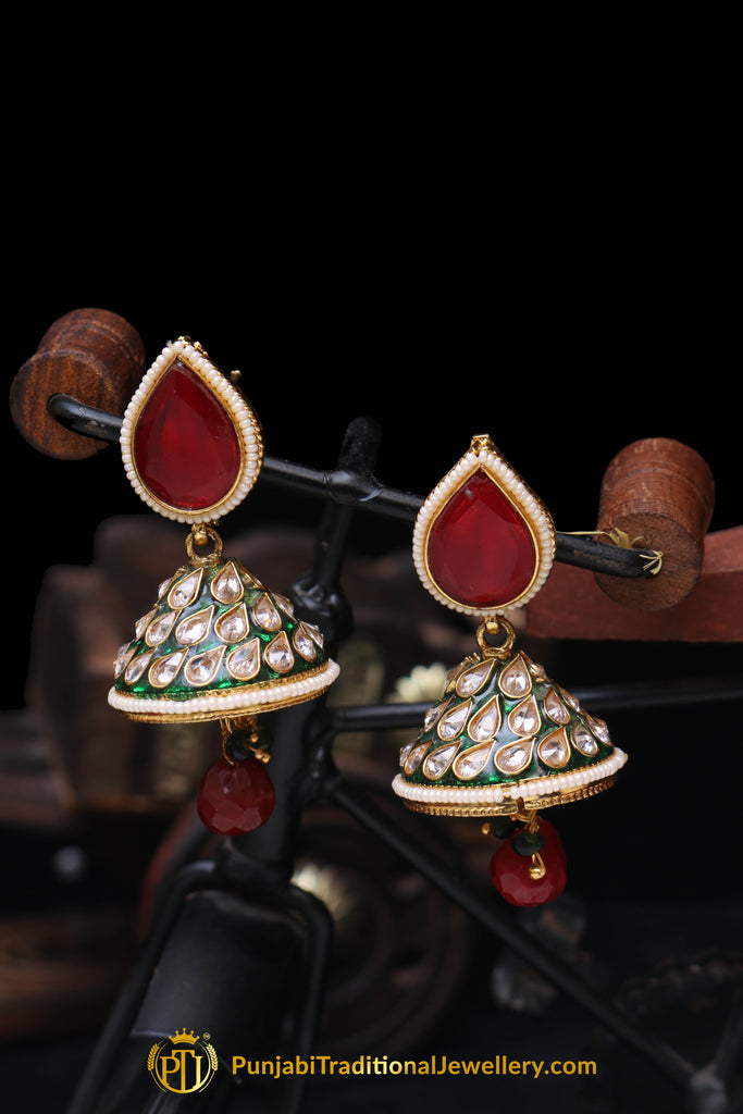 Red Green Jhumki  Antique Gold Earrings By Punjabi Traditional Jewellery