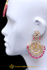 Pink Kundan Pearl Earring Tikka Set By Punjabi Traditional Jewellery