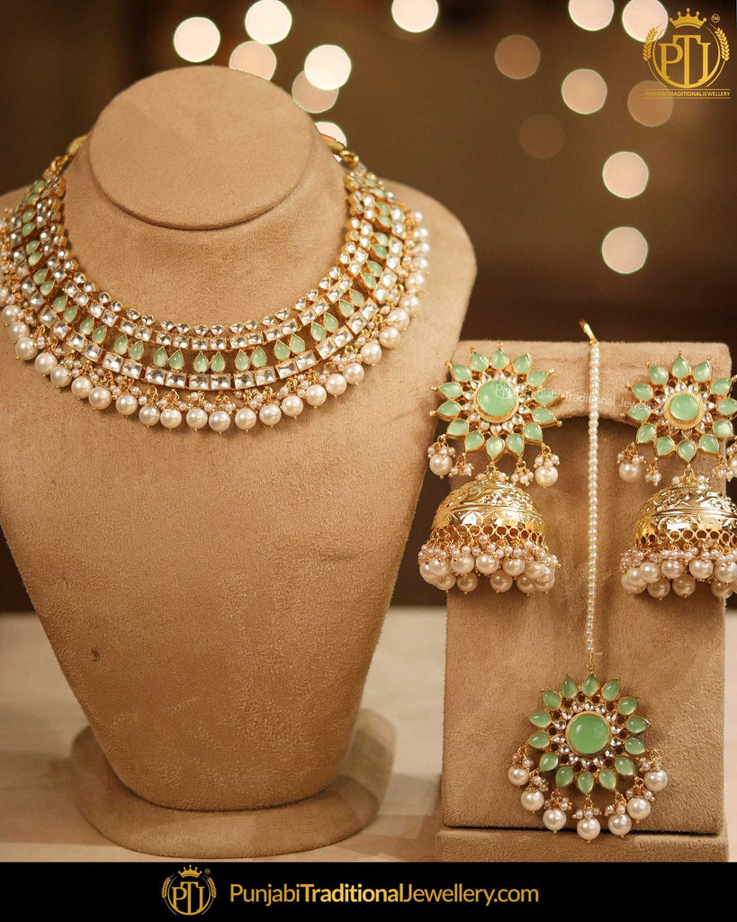 Gold Finished New Jade Kundan Pearl Jhumki Earring & Necklace Set | Punjabi Traditional Jewellery Exclusive