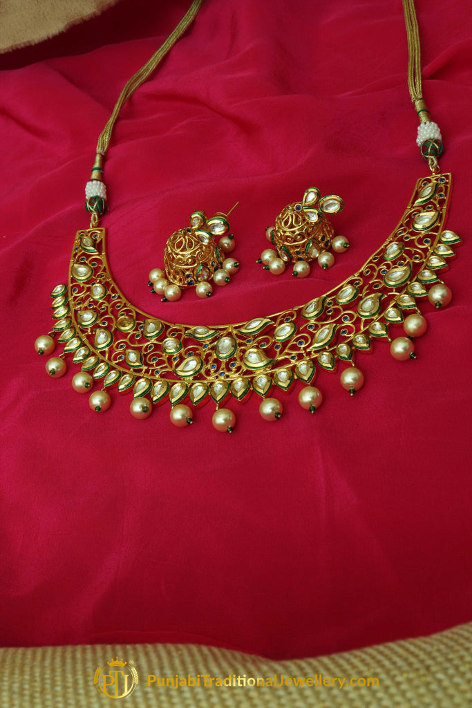 Golden Kundan & Pearl Necklace Set By Punjabi Traditional Jewellery