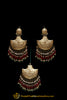 Red Green Pearl Earring Tikka Set By Punjabi Traditional Jewellery