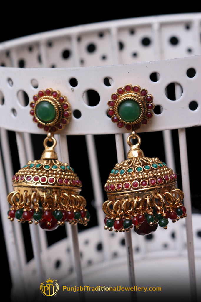 Red Green Polki Jhumki Earrings By Punjabi Traditional Jewellery