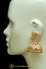 Pink Jadau & Jhumki Earrings By Punjabi Traditional Jewellery