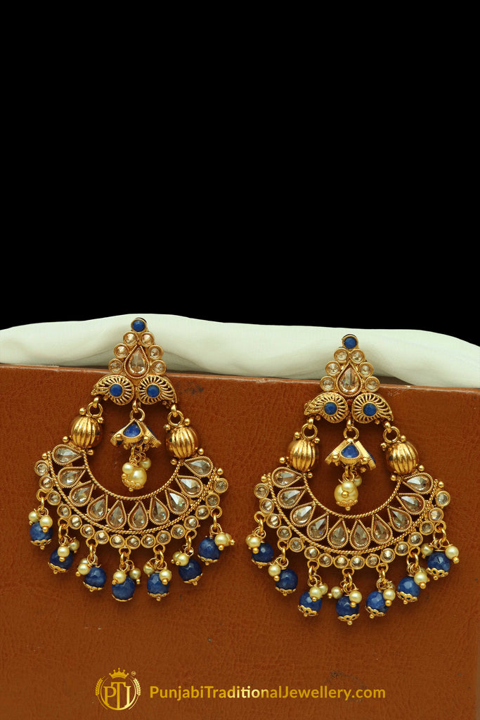 Blue Polki Earrings By Punjabi Traditional Jewellery