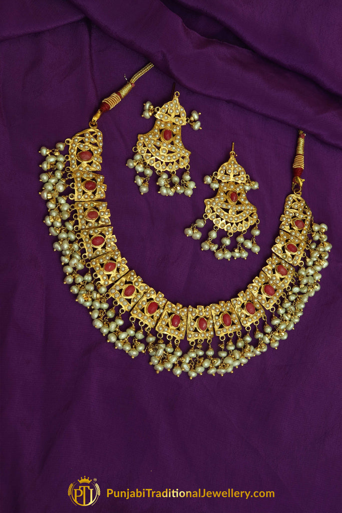Red Jadau Pearl Necklace Set By Punjabi Traditional Jewellery