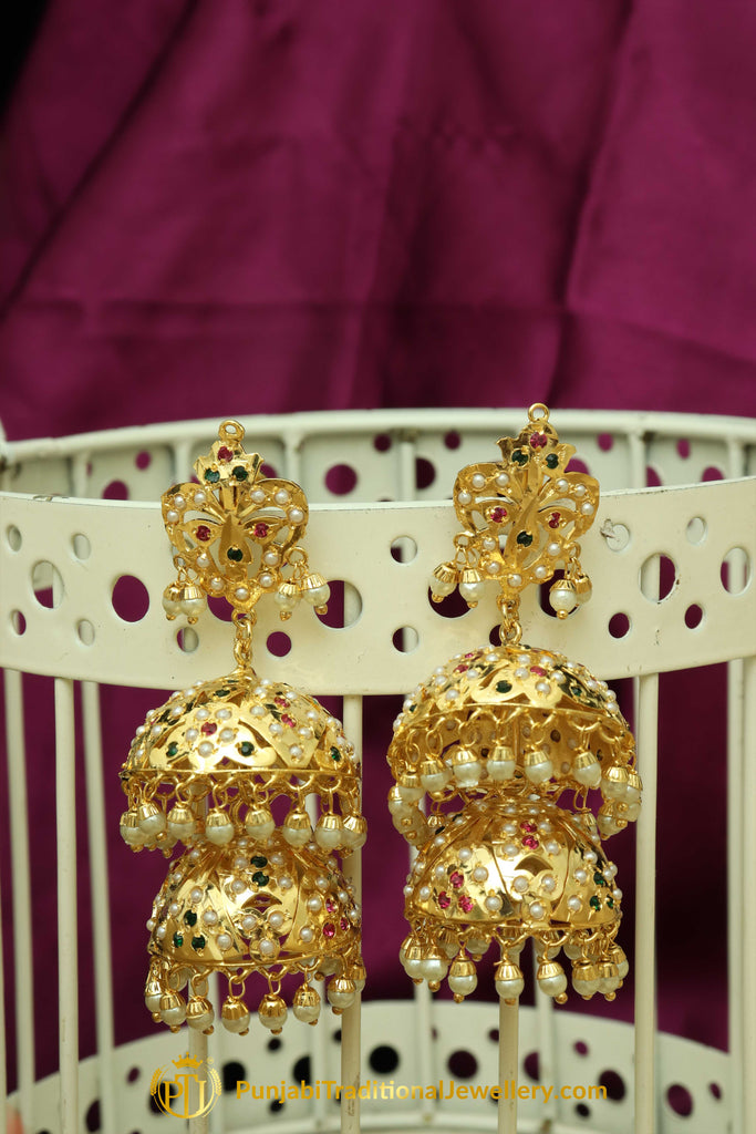 Multi Jadau Jhumki Pearl Earrings By Punjabi Traditional Jewellery