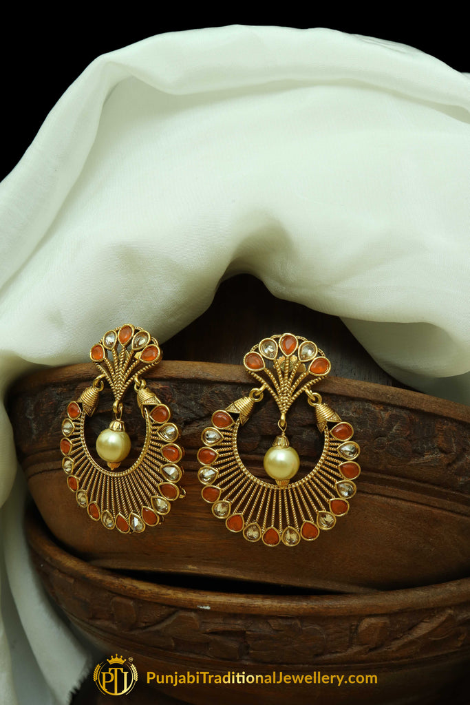 Orange Polki Pearl Earrings By Punjabi Traditional Jewellery