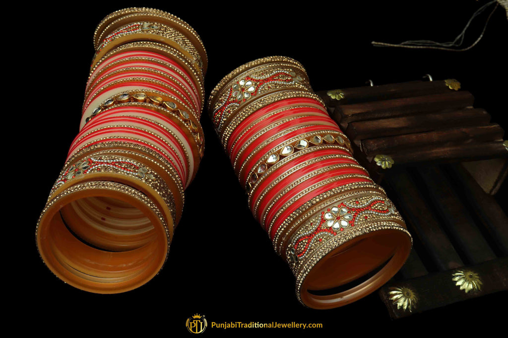 Peach Color Wedding Bridal Chura By Punjabi Traditional Jewellery