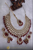 White Maroon Pearl Kundan Necklace Set By  Punjabi Traditional Jewellery