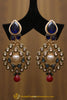 Blue Red Polki Pearl Earrings By Punjabi Traditional Jewellery