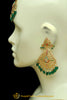 Green Jadau Earrings Tikka Set By Punjabi Traditional Jewellery