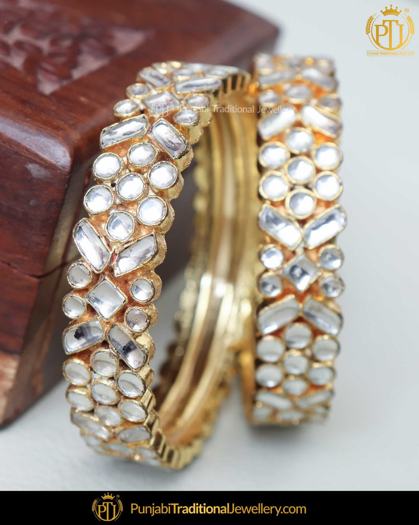 Gold Finished Kundan Openable Karra Bangles (Pair)| Punjabi Traditional Jewellery Exclusive