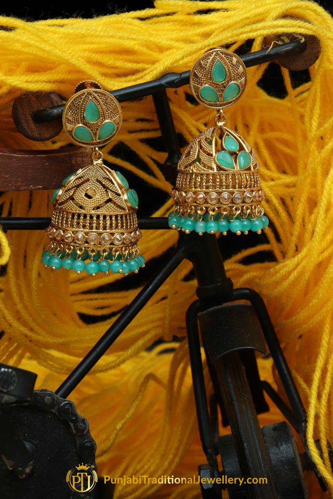 Firozi Jhumki Earrings By Punjabi Traditional Jewellery