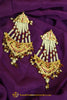 Maroon Jadau Pearl Jhumar Earrings By Punjabi Traditional Jewellery
