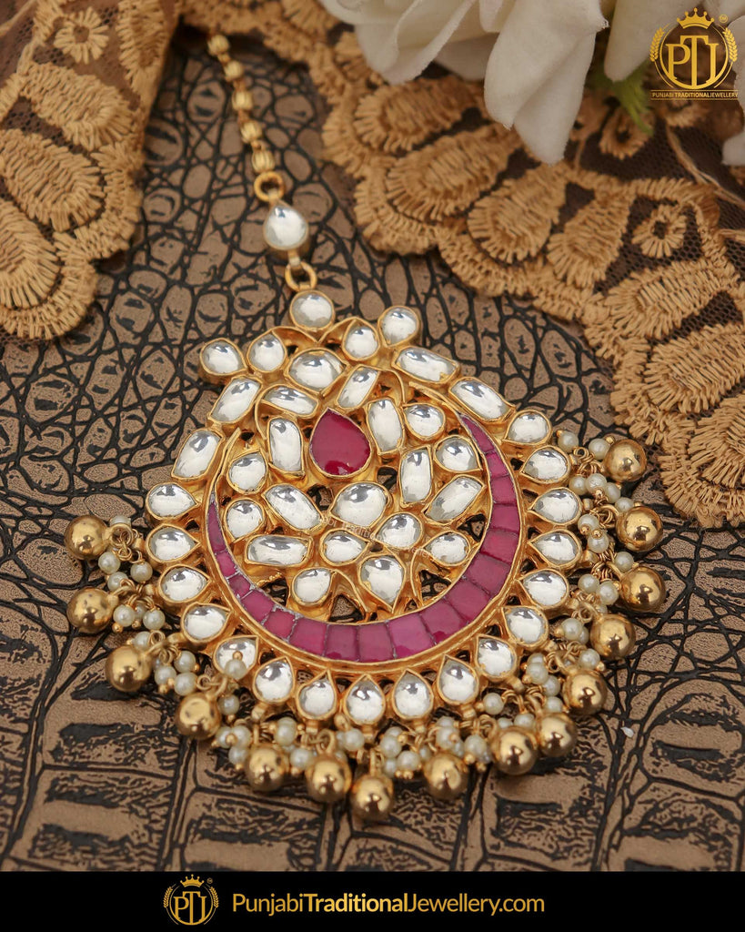 Gold Finished Kundan Red Pearl Tikka | Punjabi Traditional Jewellery Exclusive