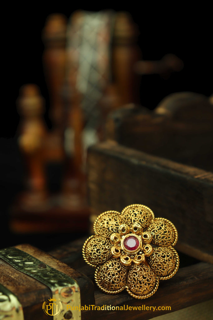 Red Antique Gold Ring By Punjabi Traditional Jewellery