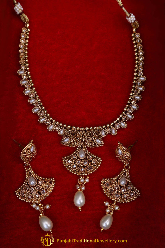 Qatra Antique Gold Pearl Polki Necklace Set By Punjabi Traditional Jewellery
