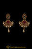 Green & Red Polki Antique Gold Earrings By Punjabi Traditional Jewellery