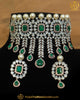 Gold Finished Emerald American Diamond Choker Necklace & Stud Earrings | Punjabi Traditional Jewellery Exclusive