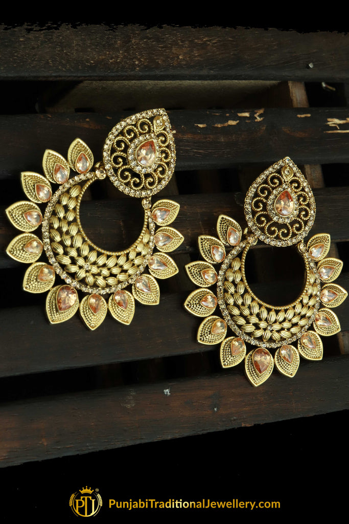 Champagne Stone Gold Plated Earrings By Punjabi Traditional Jewellery