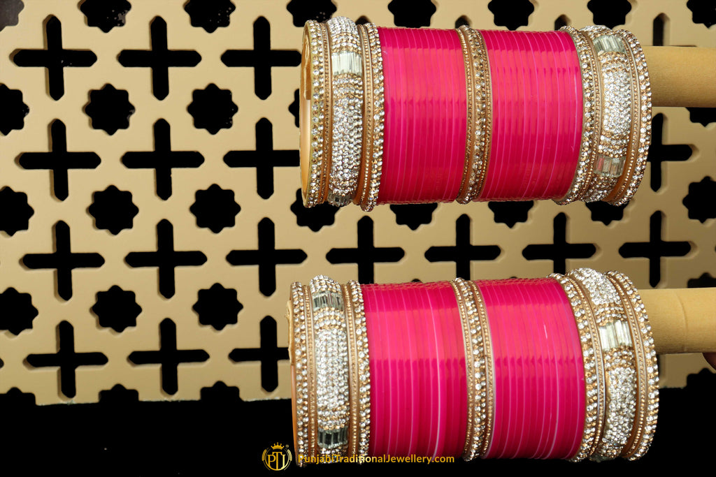 Pink Wedding Bridal Chura By Punjabi Traditional Jewellery