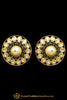 Matt Gold Polki Stud Earrings By Punjabi Traditional Jewellery