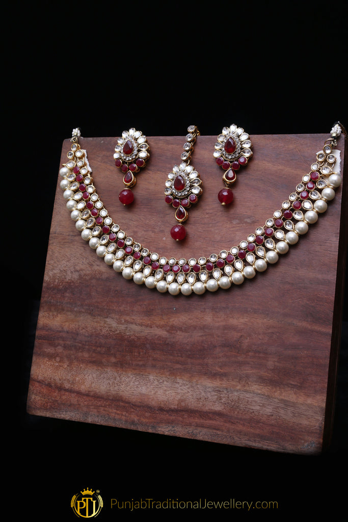 White & Maroon Necklace Set By Punjabi Traditional Jewellery