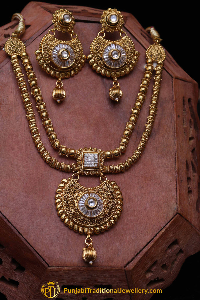 Moutjza Antique Gold Polki Necklace Set By Punjabi Traditional Jewellery