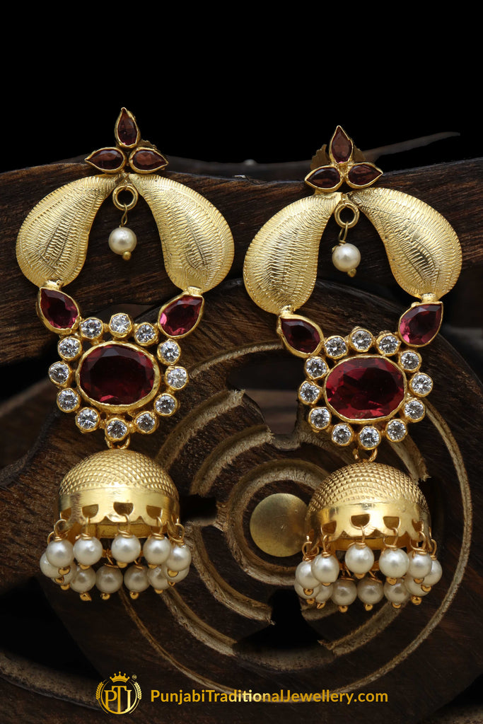 Gold Finished Rubby American Diamond Pearl Earrings By Punjabi Traditional Jewellery