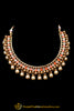 Orange Polki Pearl Necklace Set By Punjabi Taditional Jewellery