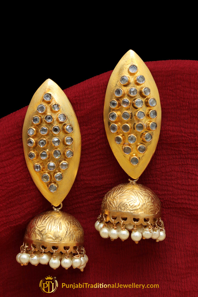Gold Finished Jhumki Earrings By Punjabi Traditional Jewellery