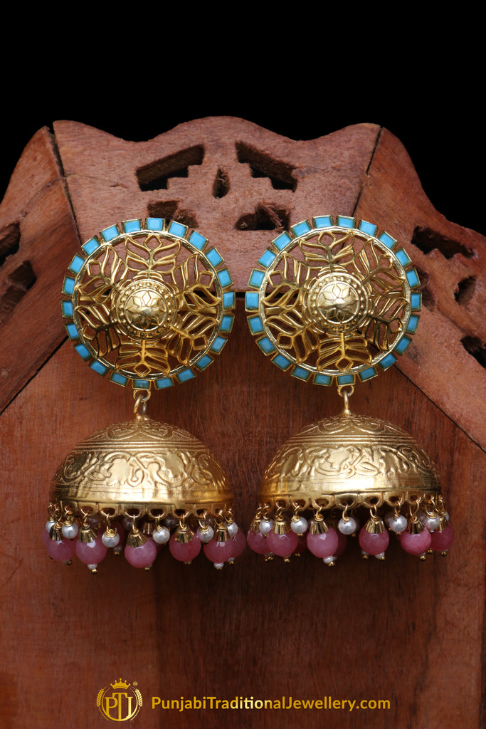 Pink Firozi Jhumki Gold Plated Earrings By Punjabi Traditional Jewellery