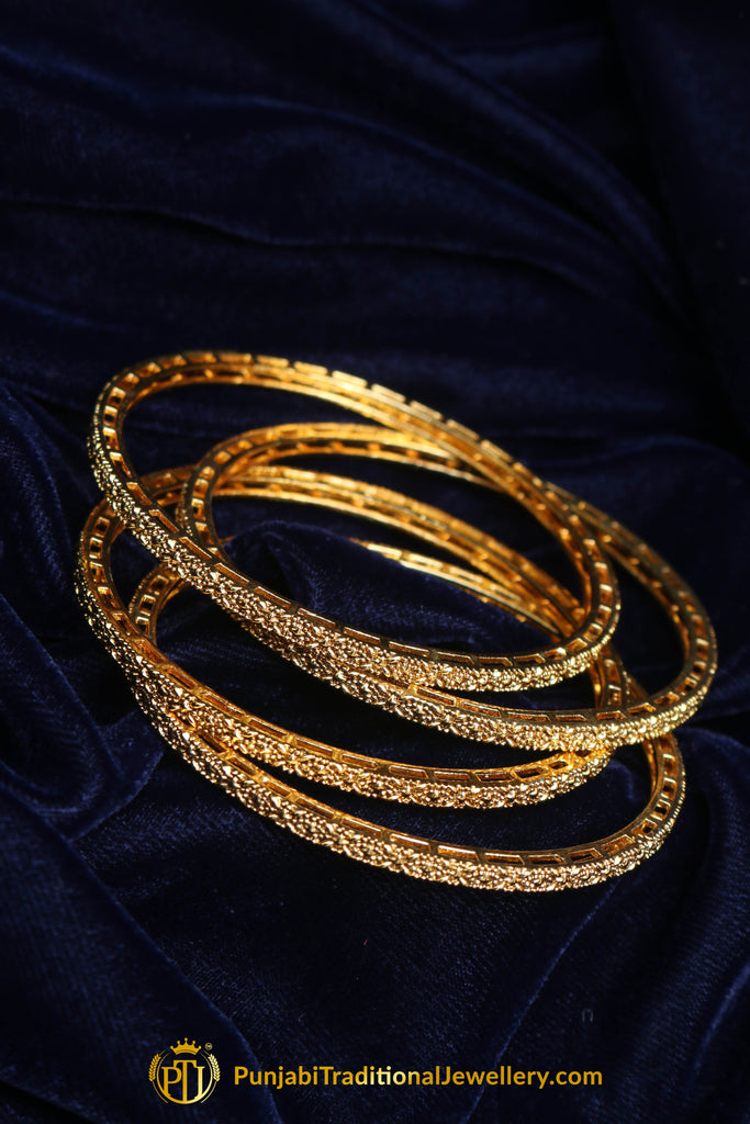 Antique Gold Karra Bangles (Pair) By Punjabi Traditional Jewellery