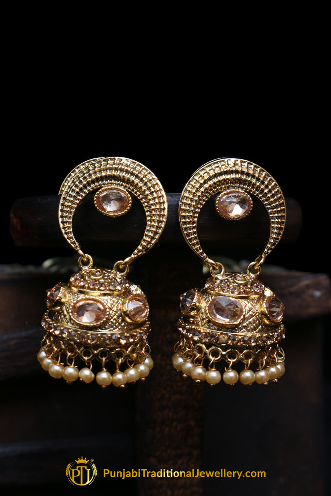 Champagne Stone Jhumki Earrings By Punjabi Traditional Jewellery