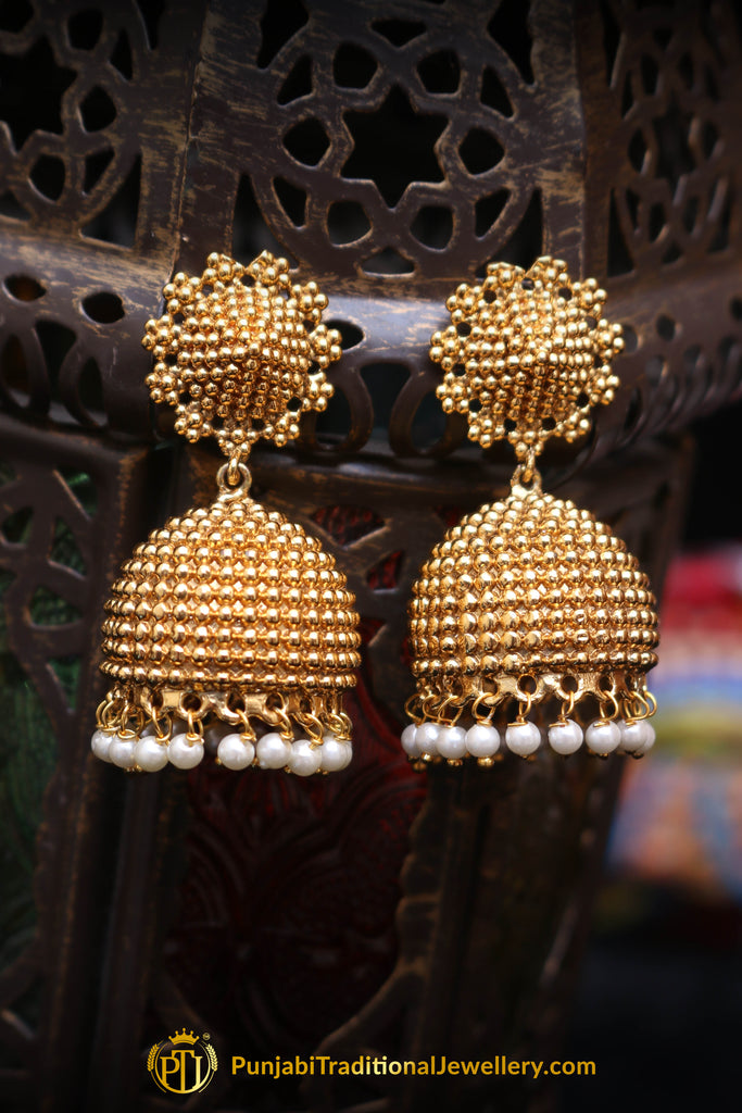 Gold Finished Jhumki & Pearl Earrings By Punjabi Traditional Jewellery