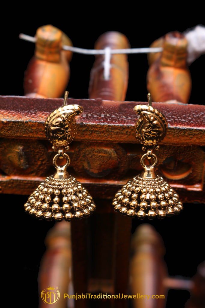 Jhumki With Antique Gold Earrings By Punjabi Traditional Jewellery