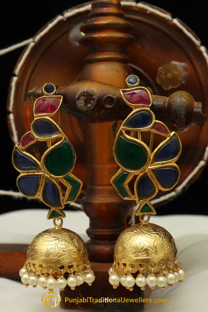 Gold Finished Navratan Jhumki Earrings By Punjabi Traditional Jewellery