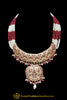 Golden Pink Pearl Jadau Choker Necklace Set By Punjabi Traditional Jewellery