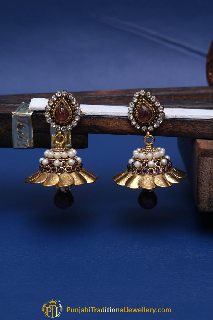 Purple Antique Gold Pearl Earrings By Punjabi Traditional Jewellery