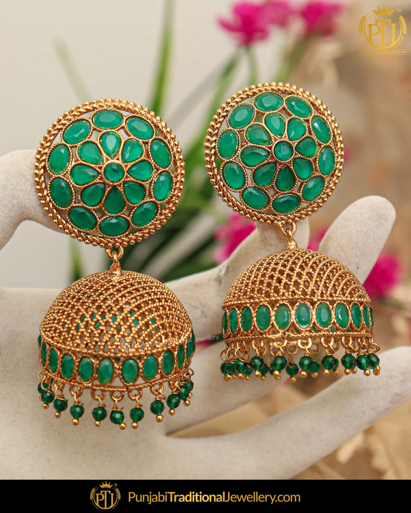 Gold Finished Emerald Jhumki Earrings | Punjabi Traditional Jewellery Exclusive