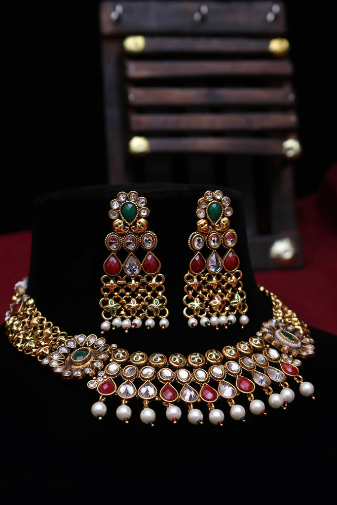 Justju Green & Red Pearl Necklace Set By Punjabi Traditional Jewellery