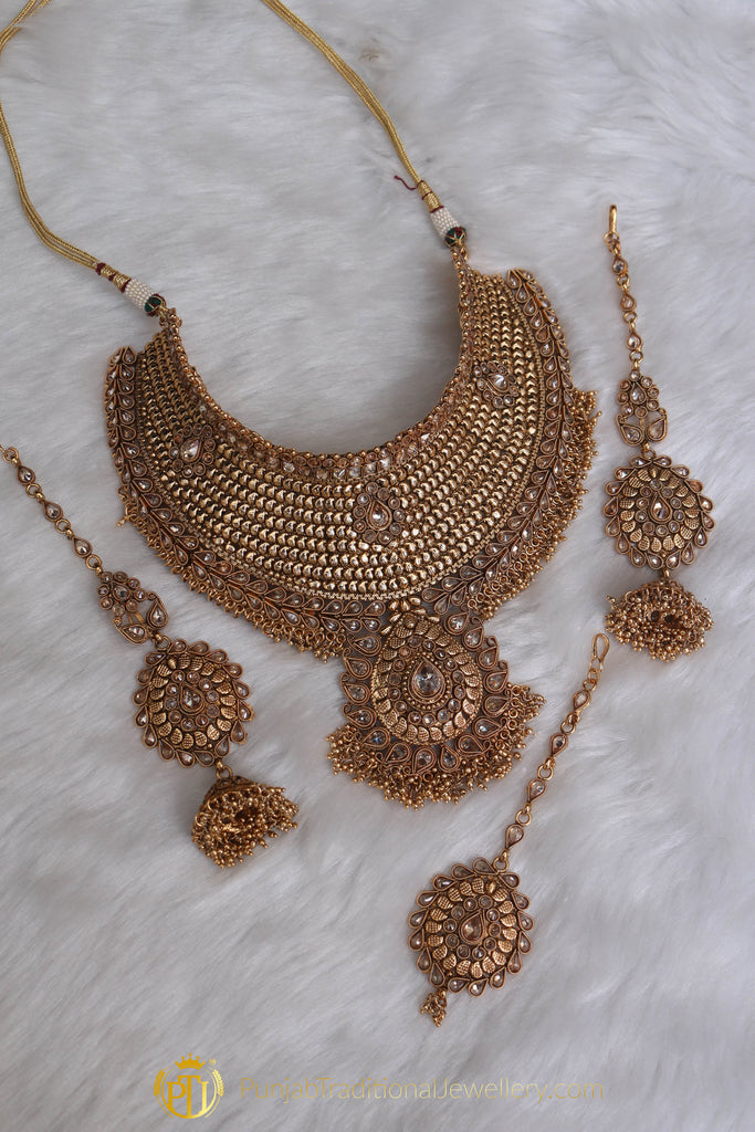 .Gold Plated Polki Choker Necklace Set By Punjabi Traditional Jewellery