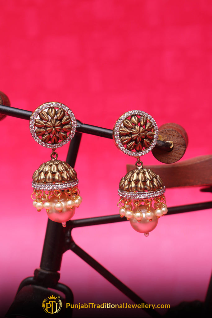 Golden Antique Gold Earrings By Punjabi Traditional Jewellery
