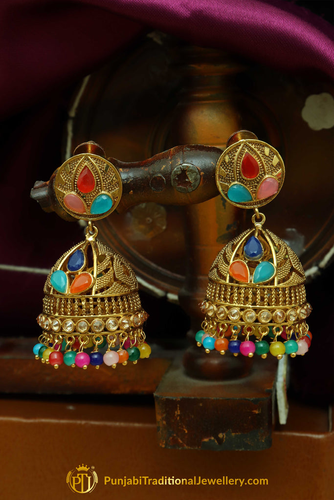 Multi Jhumki Earrings By Punjabi Traditional Jewellery