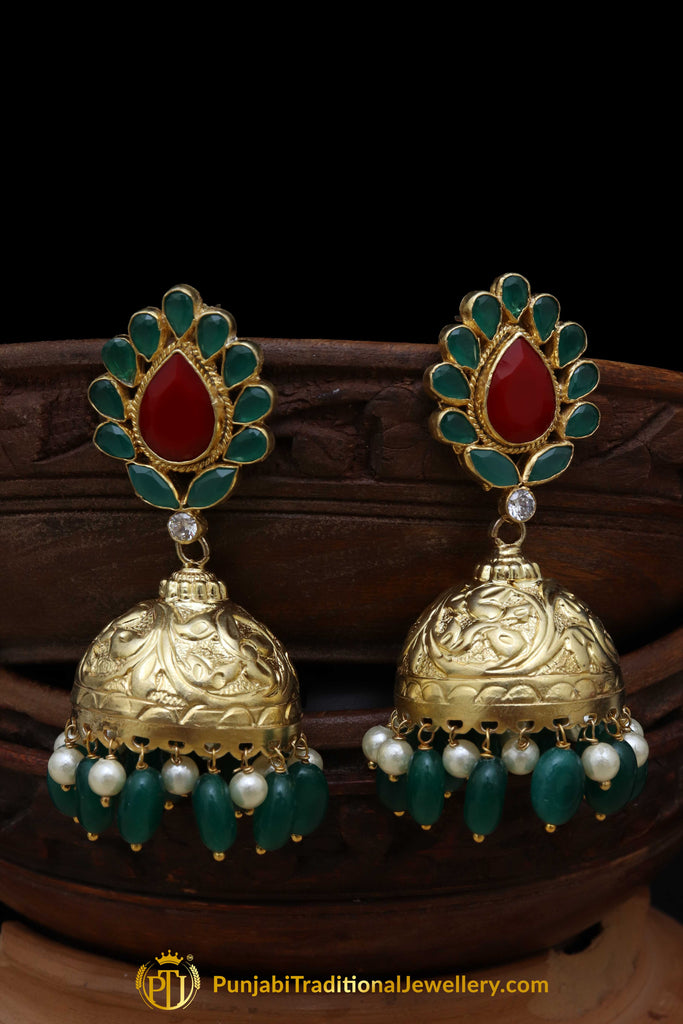 Gold Finished Emerald Rubby Jhumki Polki Earrings By Punjabi Traditional Jewellery