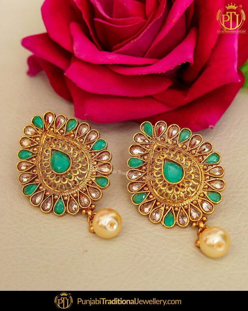 Gold Finished Emerald Chamapgne Stone Stud Earrings | Punjabi Traditional Jewellery Exclusive