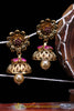Pink Antique Gold, Jhumki & Pearl Earrings By Punjabi Traditional Jewellery
