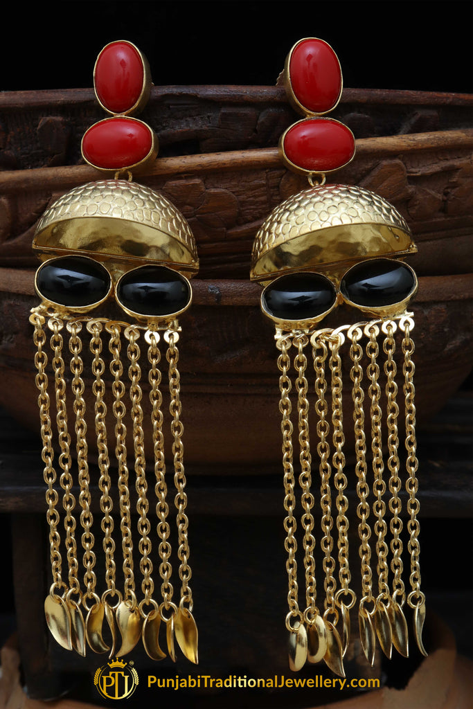 Gold Finished Rubby Jhumki Earrings By Punjabi Traditional Jewellery