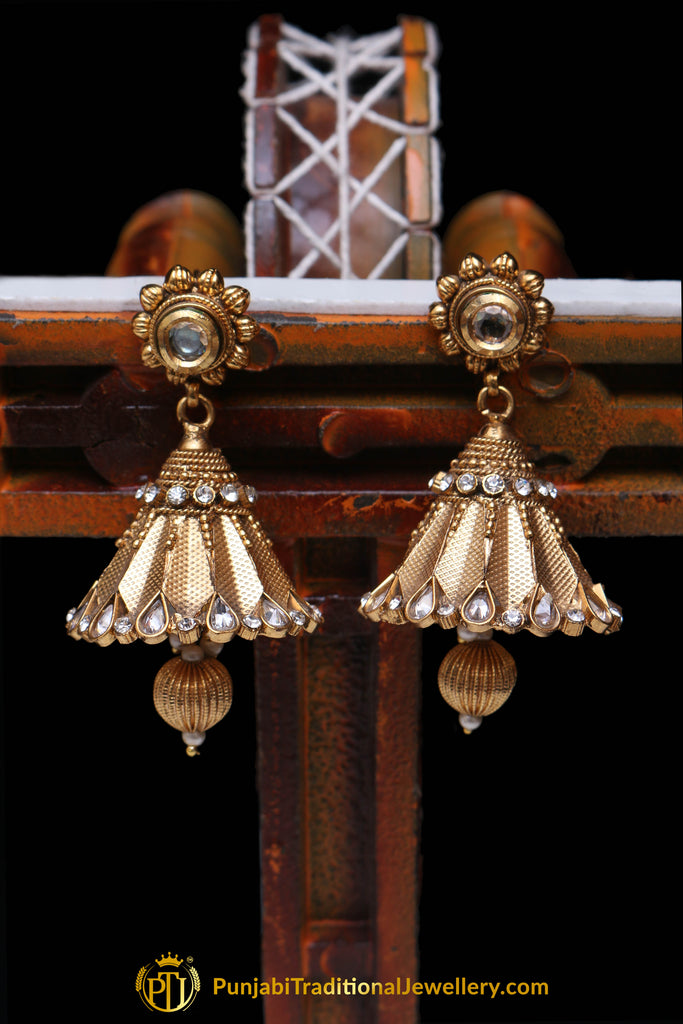 Golden Antique Gold Polki Earrings By Punjabi Traditional Jewellery