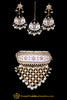 White Choker Pearl Kundan Meena Necklace Set By Punjabi Traditional Jewellery